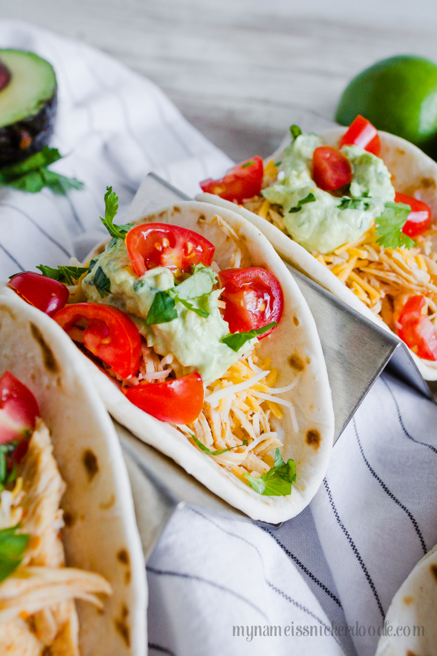 Instant Pot Chile Lime Chicken Tacos from My Name is Snickerdoodle via www.thirtyhandmadedays.com