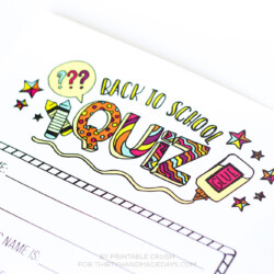 FREE Printable Back to School Questionnaire