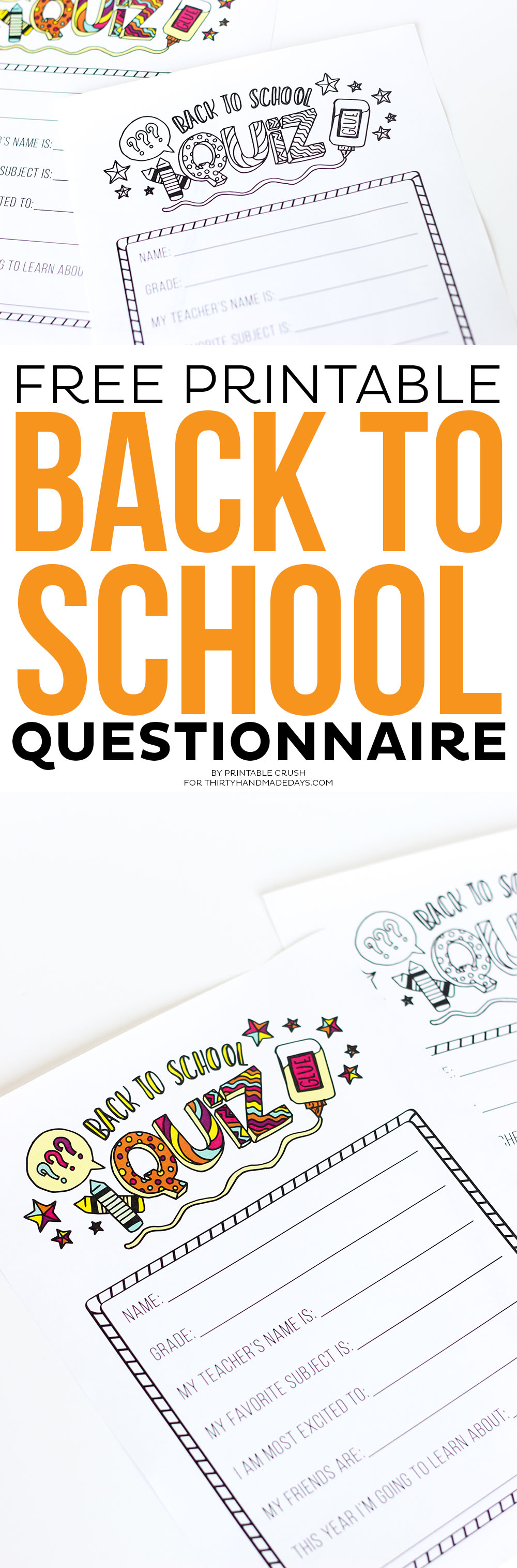 This FREE Printable Back to School Questionnaire is a great way to keep memories. Plus, it doubles as a coloring page so kids can be creative!