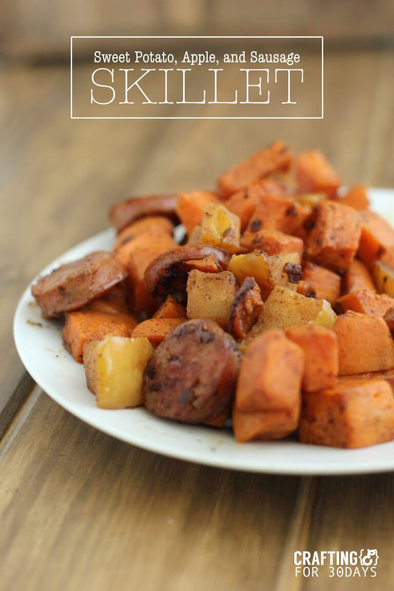 Delicious and Easy Apple, Sausage, Sweet Potato Skillet - this healthy side dish will be your new family favorite!