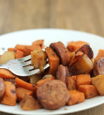 Delicious and Easy Apple, Sausage, Sweet Potato Skillet - this healthy side dish will be your new family favorite! from www.thirtyhandmadedays.com