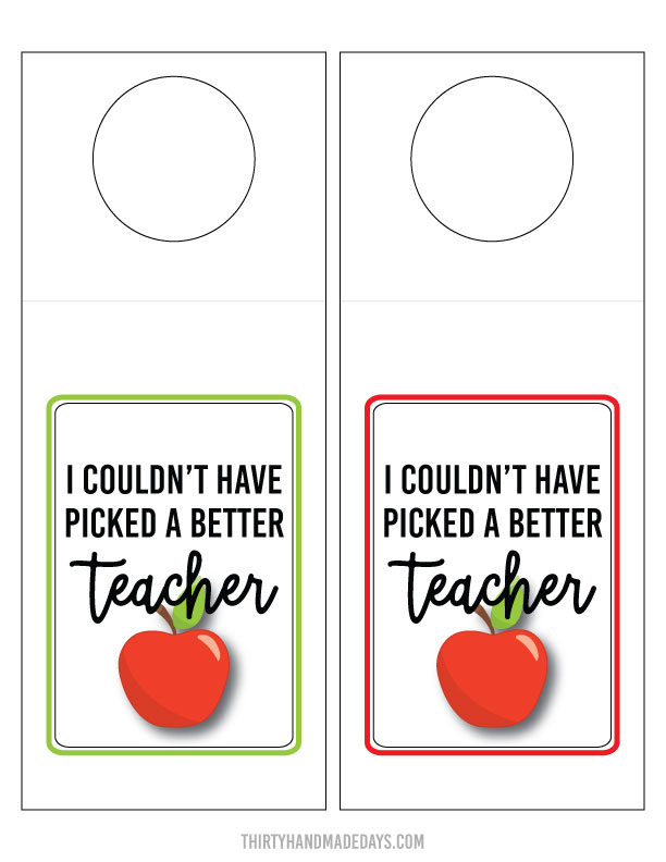 Free teacher tag printable from www.thirtyhandmadedays.com