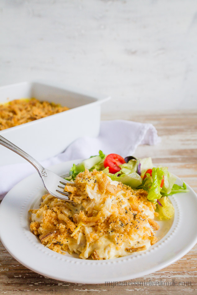 Creamy Ritz Chicken Bake Recipe- this will be one of your family favorite main dishes for sure! My Name is Snickerdoodle via www.thirtyhandmadedays.com