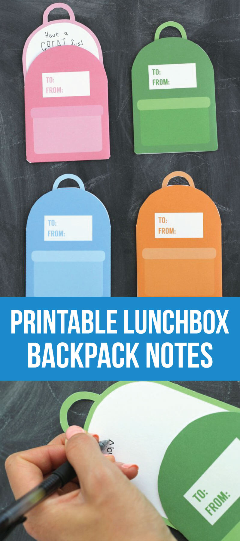Printable Backpack Lunch Box Notes- cute back to school notes for your kids! www.thirtyhandmadedays.com