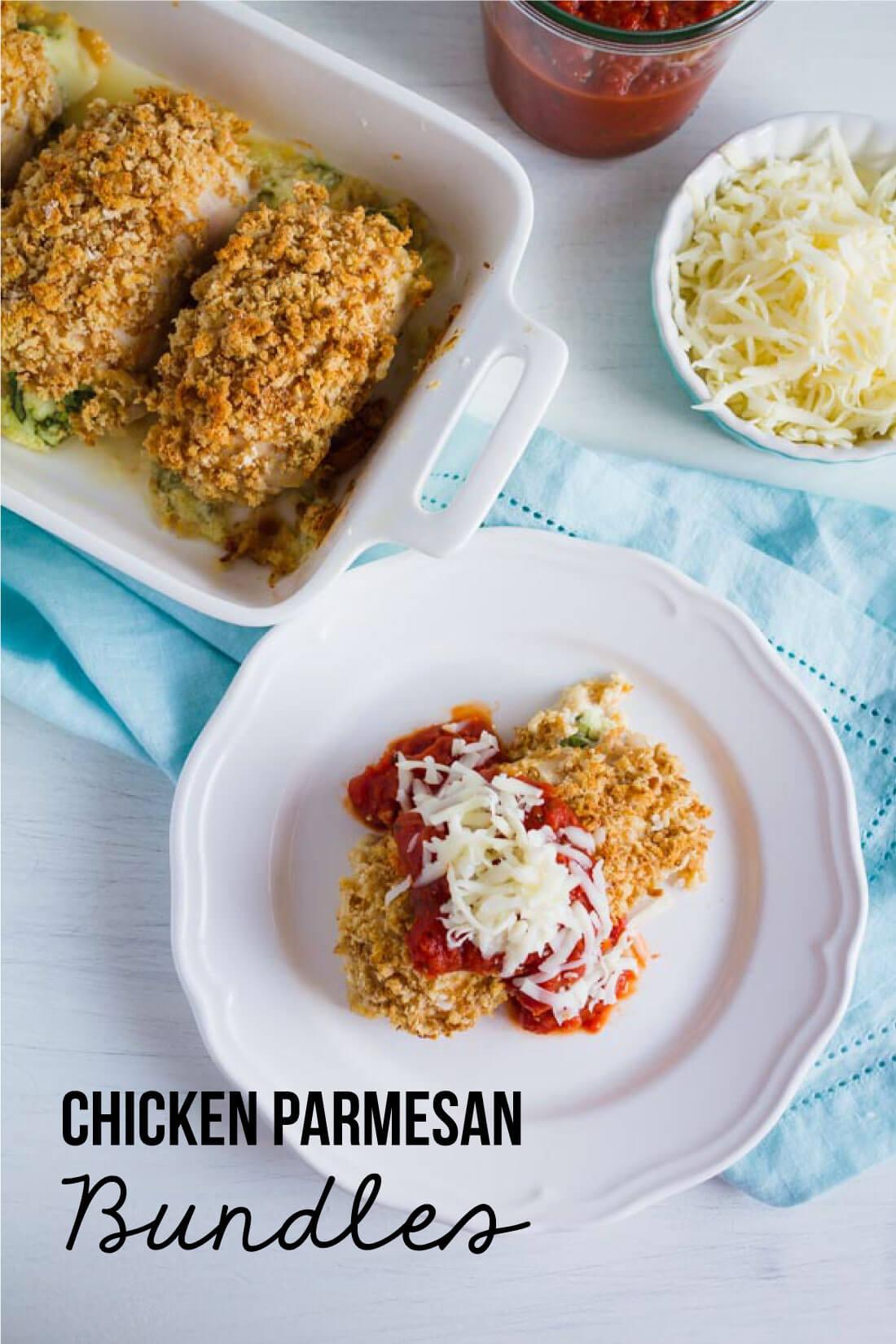 Chicken Parmesan Bundles - make this amazing main dish recipe. www.thirtyhandmadedays.com