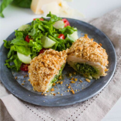 Pesto Chicken - this yummy filled chicken is so good! via www.thirtyhandmadedays.com
