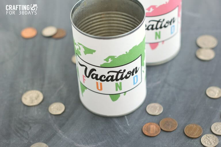 Vacation Fund Jar - use this cute printable to help save for your next trip! from CraftingE for www.thirtyhandmadedays.com