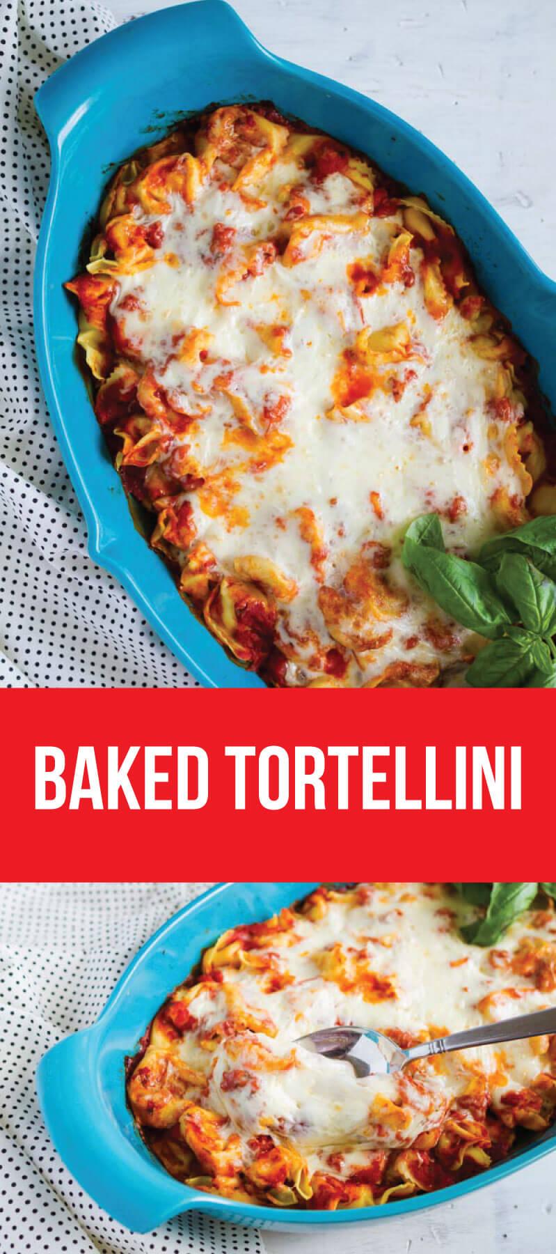 Super simple but tasty Baked Tortellini - if your family likes pasta, they will love this ooey gooey main dish! via www.thirtyhandmadedays.com