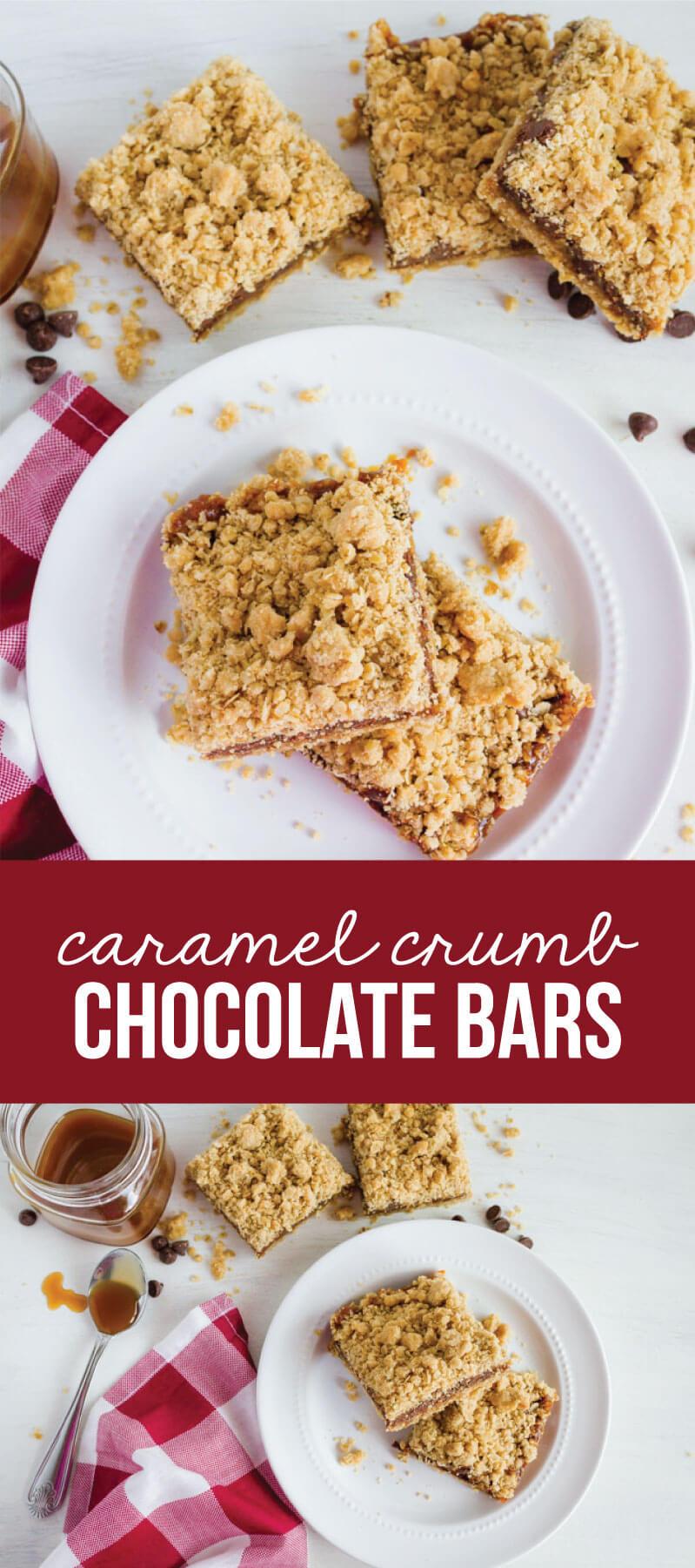 Caramel Crumb Chocolate Bars - make this easy dessert for a sweet treat! from www.thirtyhandmadedays.com