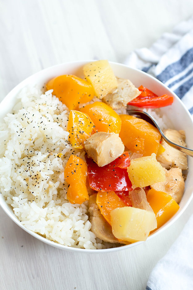 Easy and Healthy Sweet Hawaiian Crockpot Chicken - throw all the ingredients and you're set! from New Leaf Wellness via thirtyhandmadedays.com