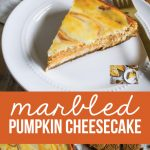 Marbled Pumpkin Cheesecake - this pumpkin cheesecake recipe has a little bit of a kick to it. So good!! from www.thirtyhandmadedays.com