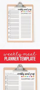 Weekly Meal Planner Template Printable -