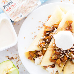 Salted Caramel Apple Crepe Recipe - the perfect breakfast OR dessert recipe for fall! Yum!