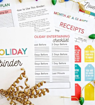 Printable Holiday Binder - get the entire binder to download and print for the holidays. www.thirtyhandmadedays.com