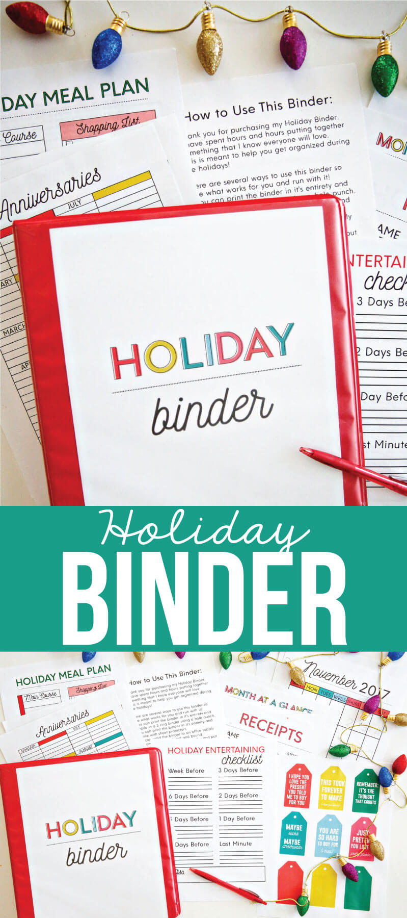 Printable Holiday Binder - get the entire binder to download and print for the holidays. from www.thirtyhandmadedays.com