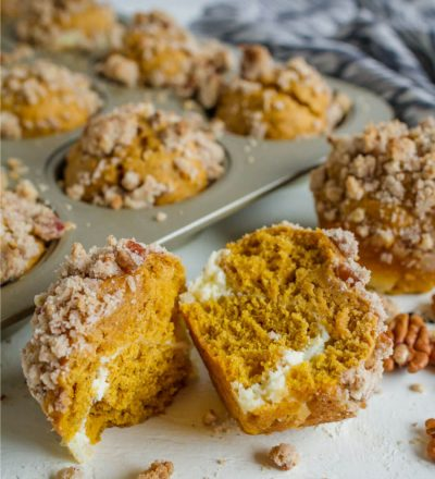 Pumpkin Cream Cheese Muffins- the perfect fall treat via www.thirtyhandmadedays.com