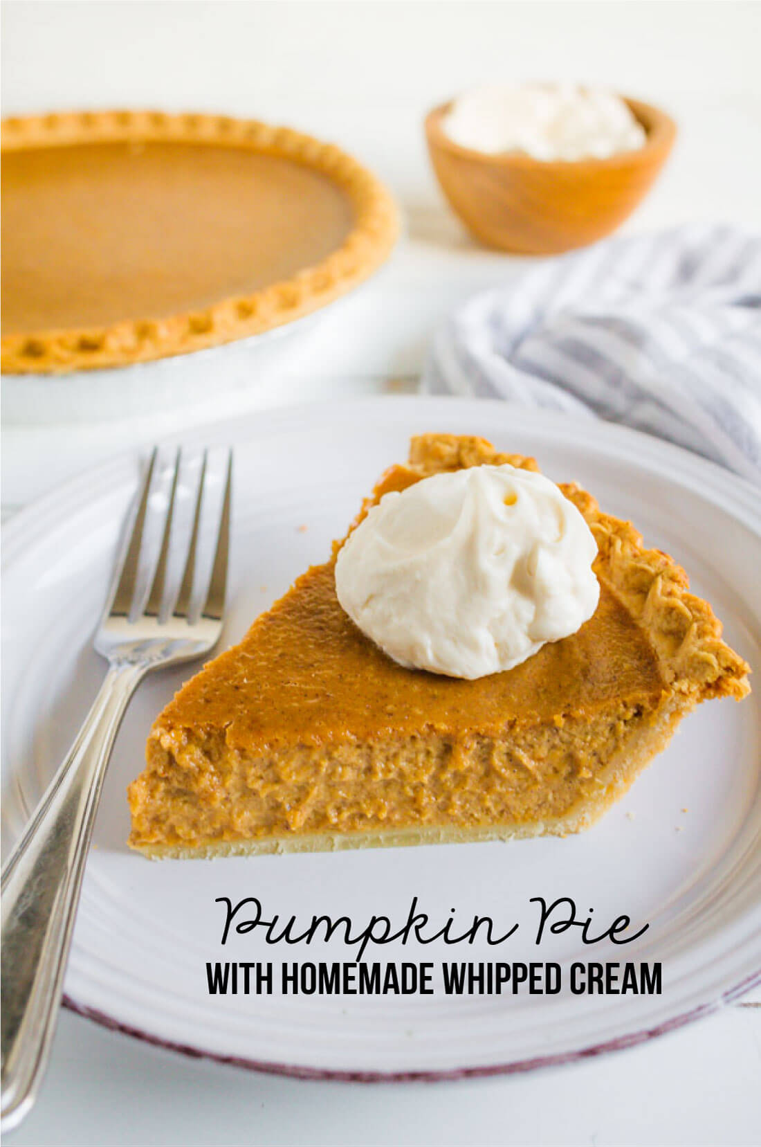 Simple, classic Pumpkin Pie recipe that you will love!! And it has homemade whipped cream to boot. from www.thirtyhandmadedays.com