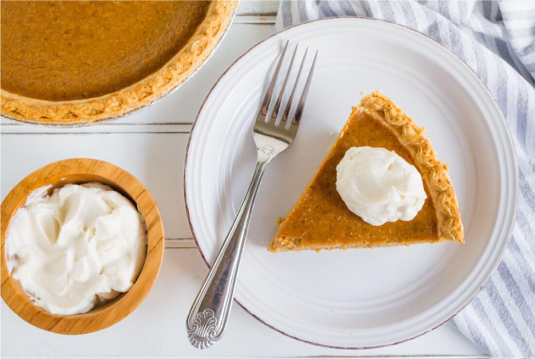 Simple, classic Pumpkin Pie recipe that you will love!! And it has homemade whipped cream to boot. via thirtyhandmadedays.com