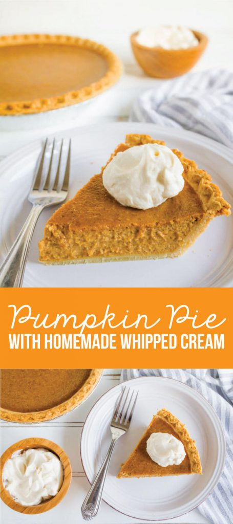Simple, classic Pumpkin Pie recipe that you will love!! And it has homemade whipped cream to boot. www.thirtyhandmadedays.com