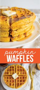 Pumpkin Waffles - this waffle recipe is so good and perfect breakfast for the fall! via thirtyhandmadedays.com