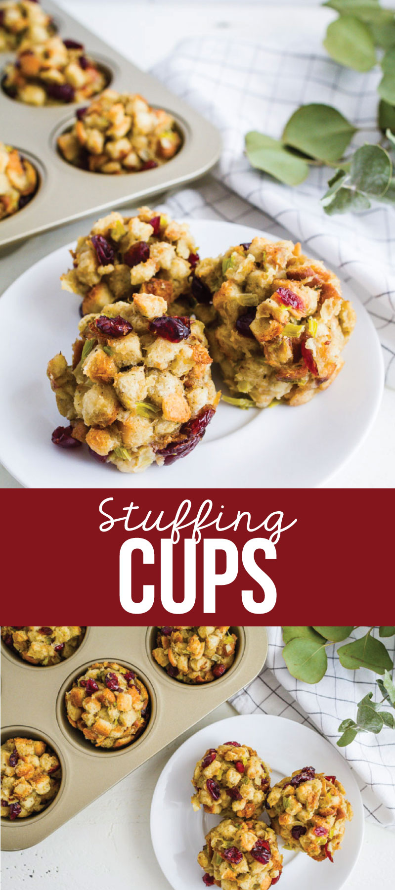 Cranberry Stuffing Cups - make this stuffing recipe ahead to be ready for Thanksgiving (or anytime!).  via www.thirtyhandmadedays.com
