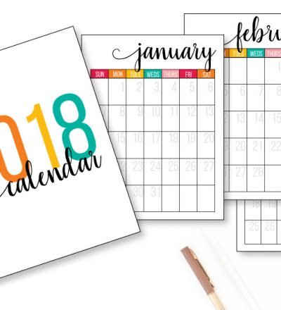 2018 Printable Calendar - get this cute, functional calendar for the new year.