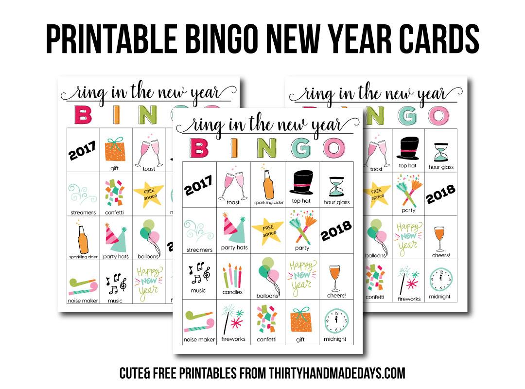 BINGO New Year Printable - download these printable files to play BINGO on New Year's Eve from thirtyhandmadedays.com