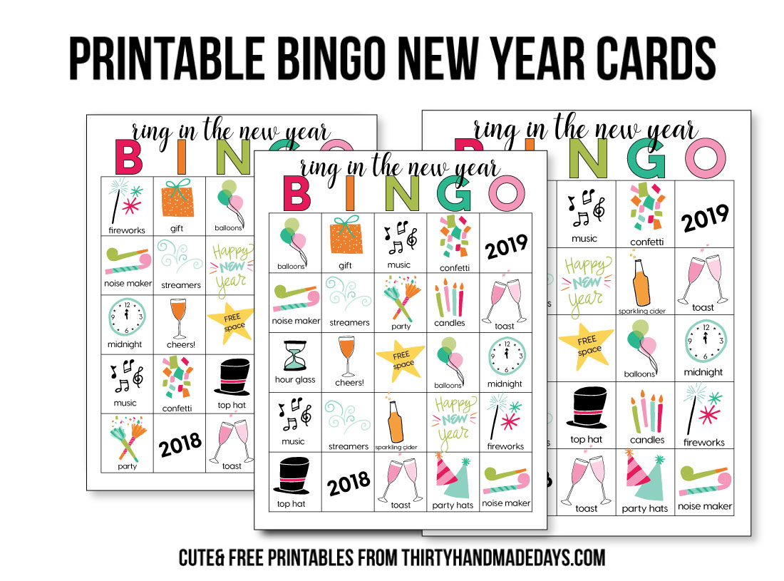 Printable BINGO New Year's Eve Sheets