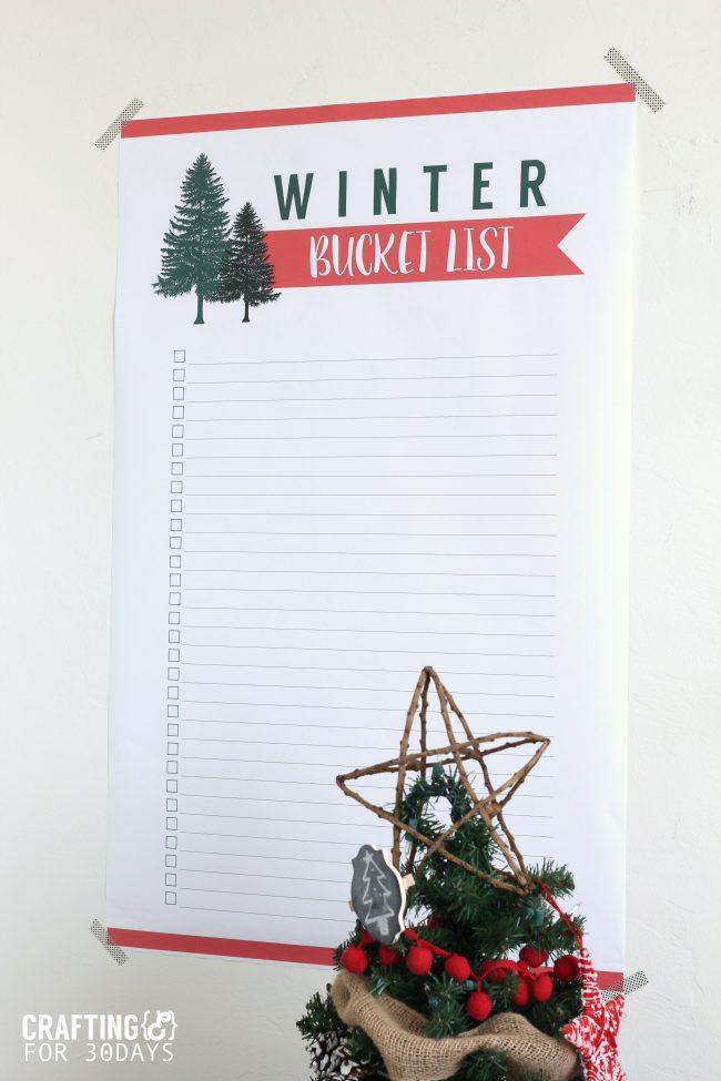 Printable Winter Bucket List - download this and make some memories this winter! via thirtyhandmadedays.com