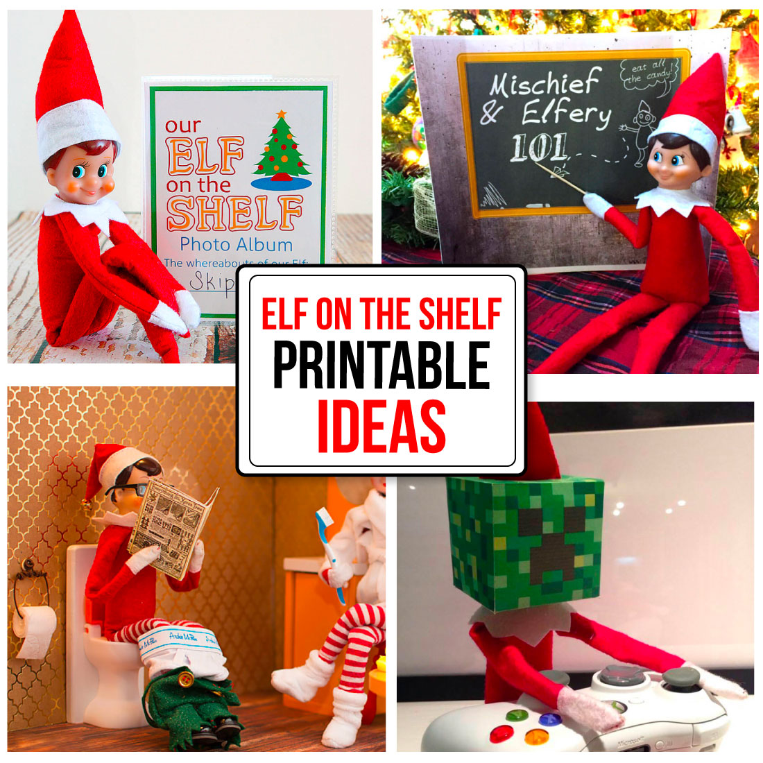 Printable Elf on the Shelf Ideas - fun ideas to make Elf on the Shelf a little more fun. www.thirtyhandmadedays.com