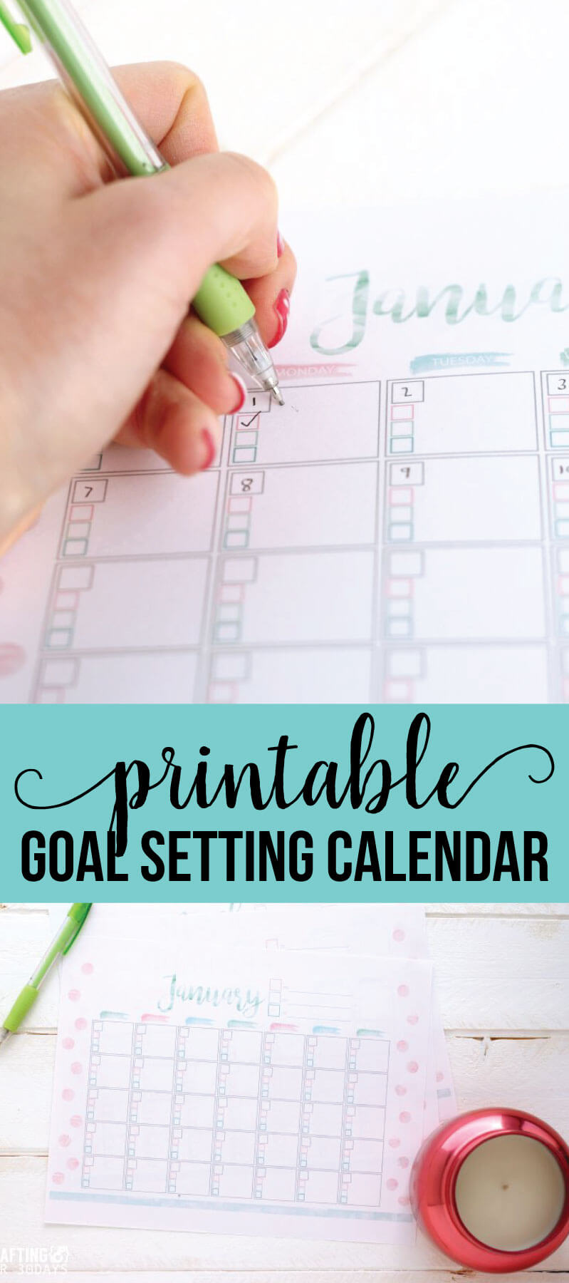 Free printable Goal Setting Calendar- use this to help accomplish all of your goals in the new year. via www.thirtyhandmadedays.com