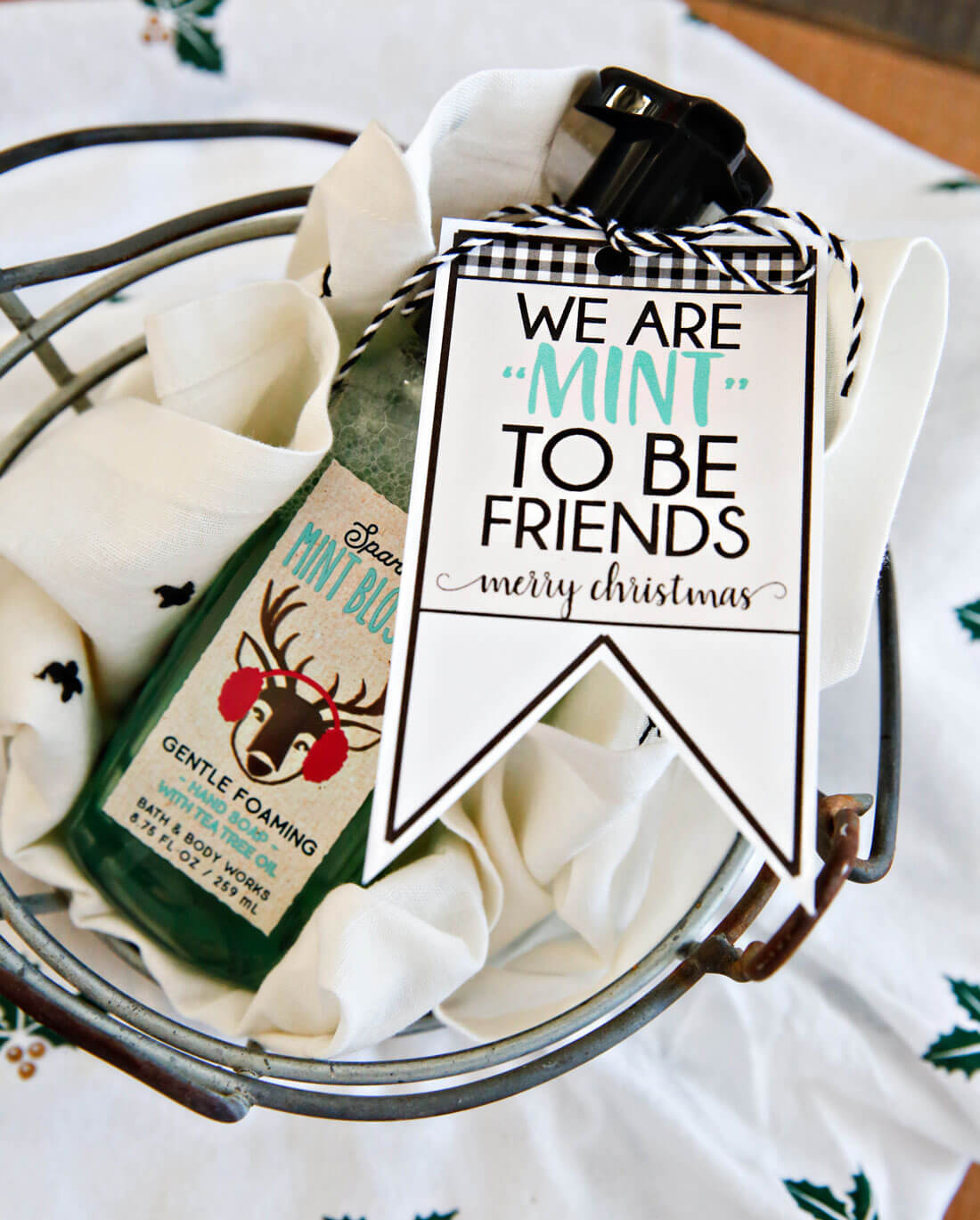 "We're ""mint to be friends"" Christmas tags - download these cute printable tags from thirtyhandmadedays.com"