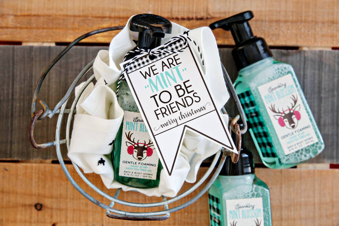 "We're ""mint to be friends"" Christmas tags - download these cute printable tags via thirtyhandmadedays.com"