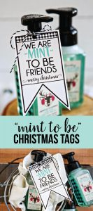 """We're """"mint to be friends"""" Christmas tags - download these cute printable tags via www.thirtyhandmadedays.com"""