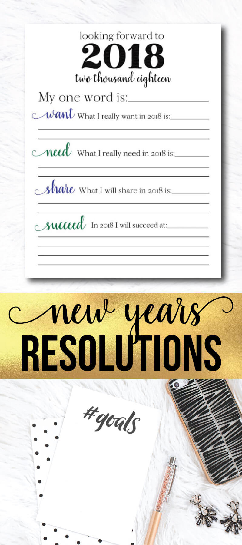 New Years Resolutions for YOU for 2018 - use these to write down your goals for the new year. Printable from www.thirtyhandmadedays.com