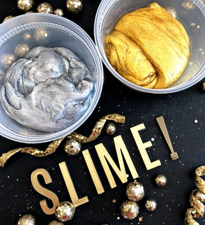 Silver and Gold Party Slime for New Years - make this pretty, sparkly slime to ring in the new year!