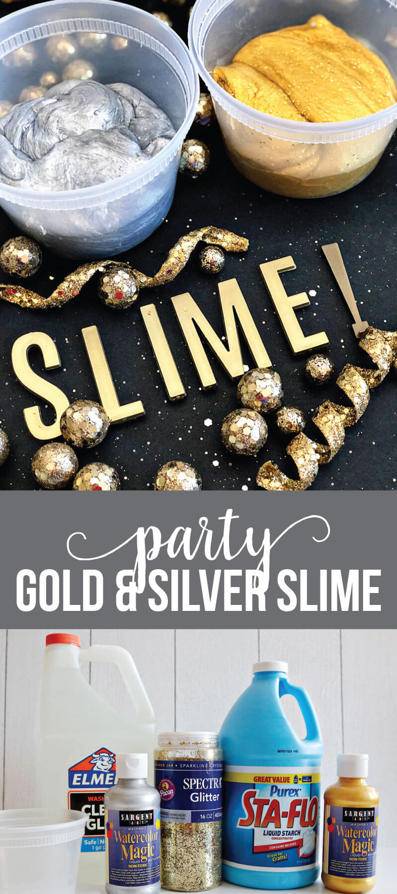 Silver and Gold Party Slime for New Years - make this pretty, sparkly slime to ring in the new year! via www.thirtyhandmadedays.com