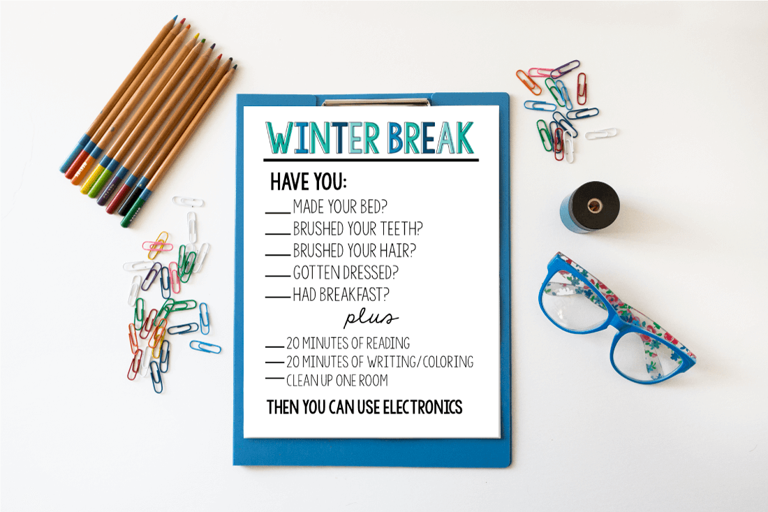 Printable Winter Break Rules via www.thirtyhandmadedays.com