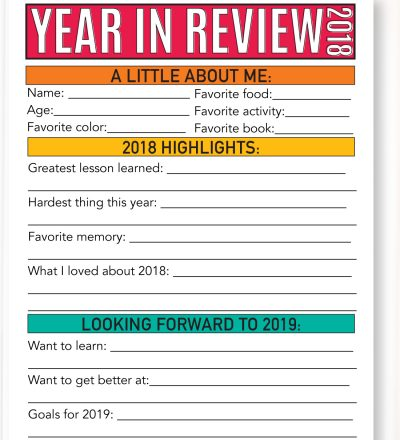Updated Year in Review - 2018 - have your kids fill this sheet out every year!