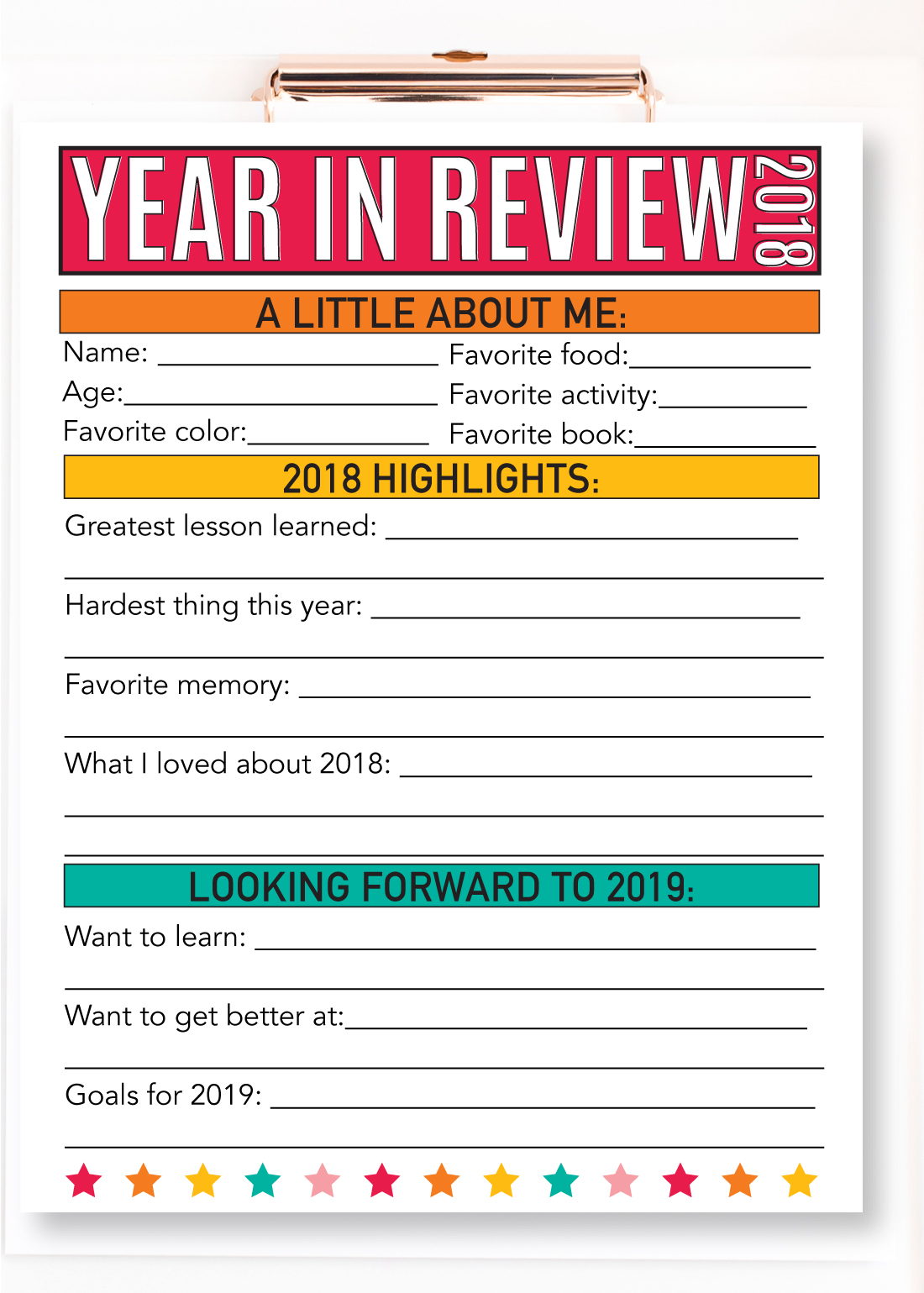 Updated year in review 2018 have your kids fill this sheet out every year