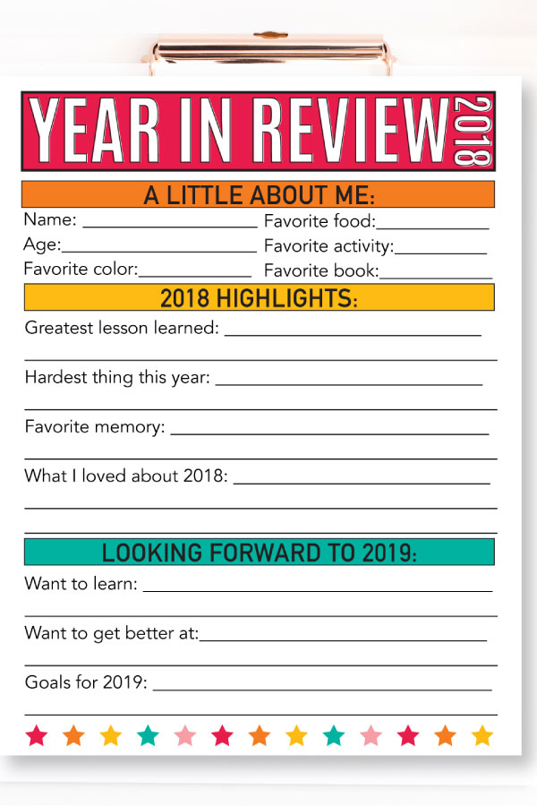 Updated Year in Review - 2018 - have your kids fill this sheet out every year! from www.thirtyhandmadedays.com