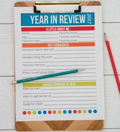 Printable Year in Review - a great way for kids to do new year's resolution from www.thirtyhandmadedays.com