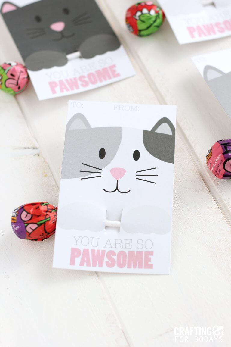 Free Printable Cat Valentine Day from CraftingE www.thirtyhandmadedays.com
