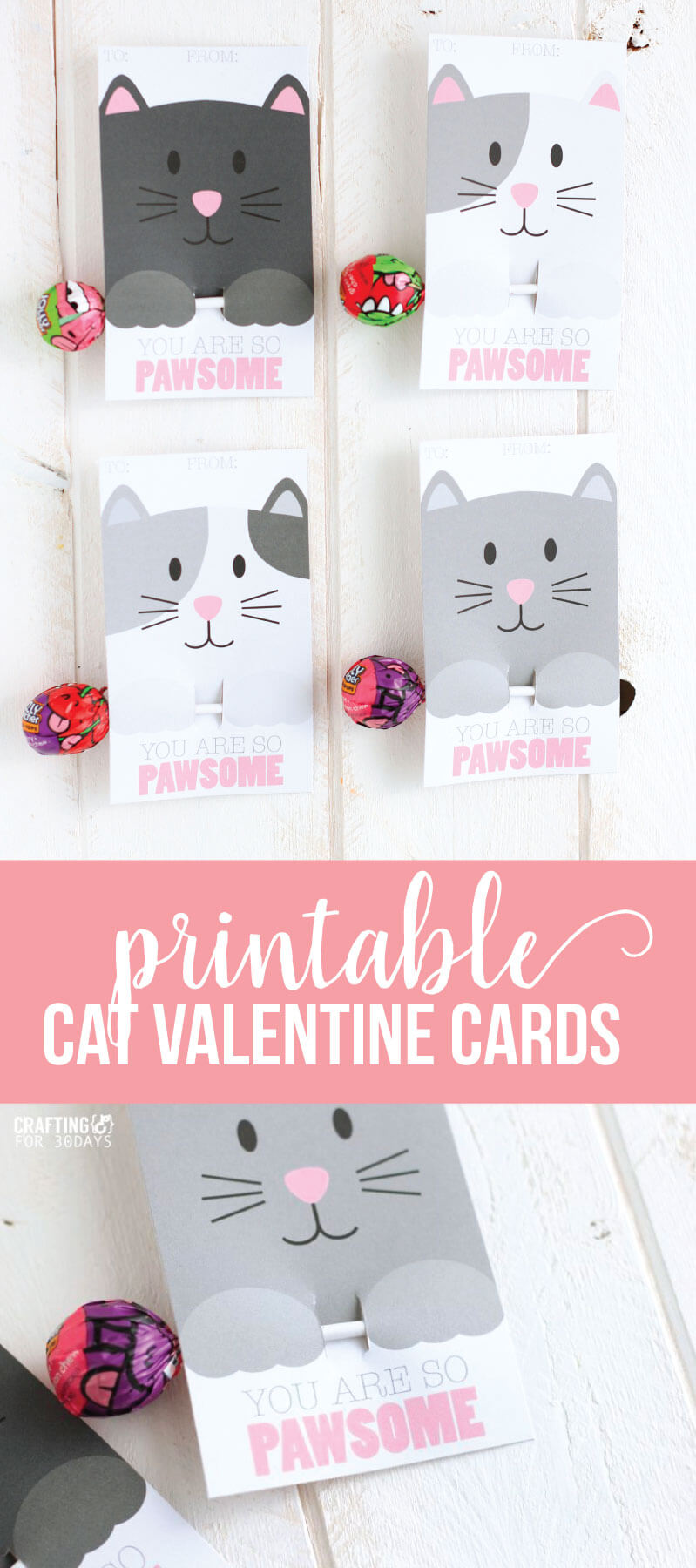 Free Printable Cat Valentine Day From CraftingE Via  Www.thirtyhandmadedays.com