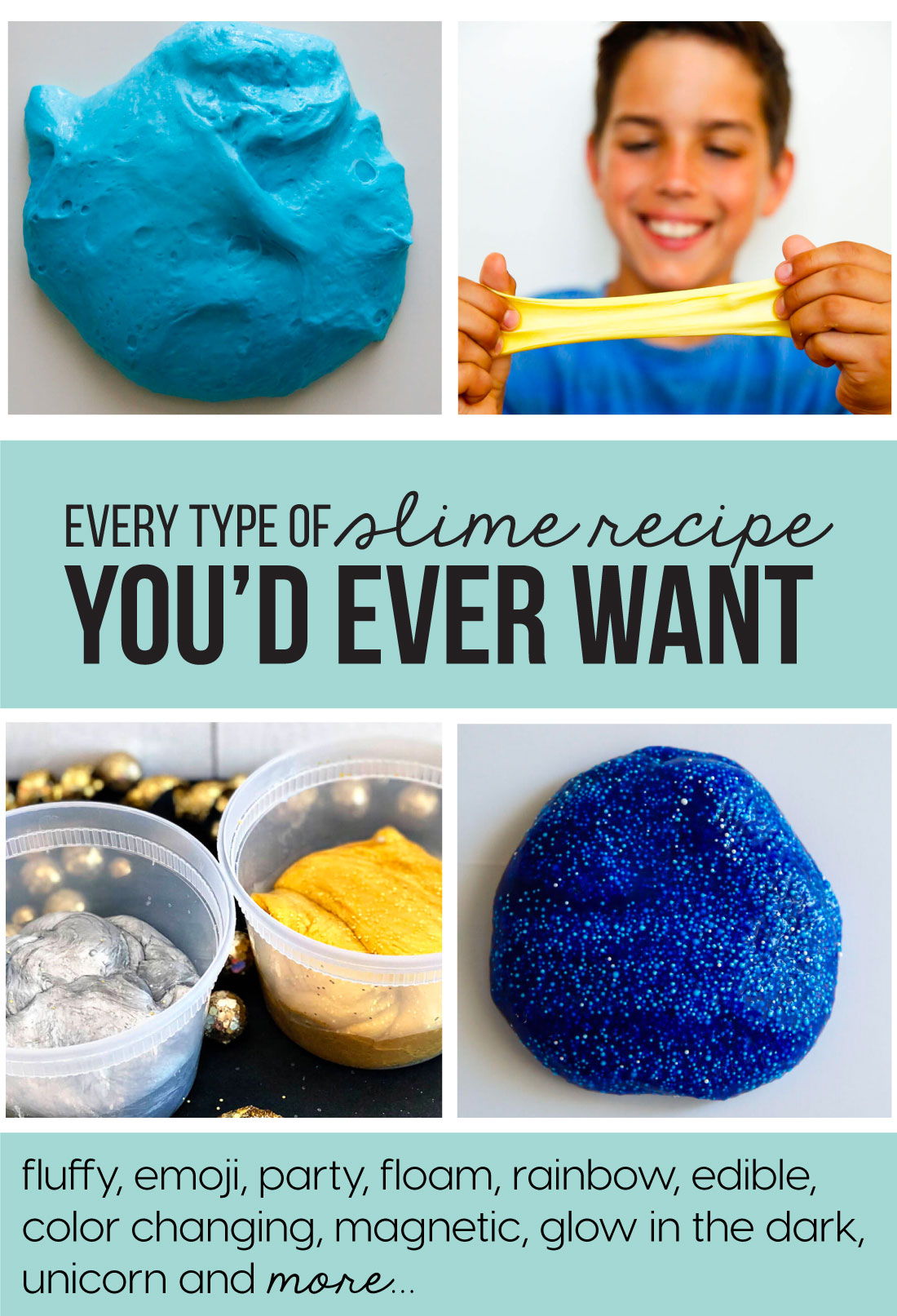 Every type of slime recipe you'd ever want..how to make slime! www.thirtyhandmadedays.com