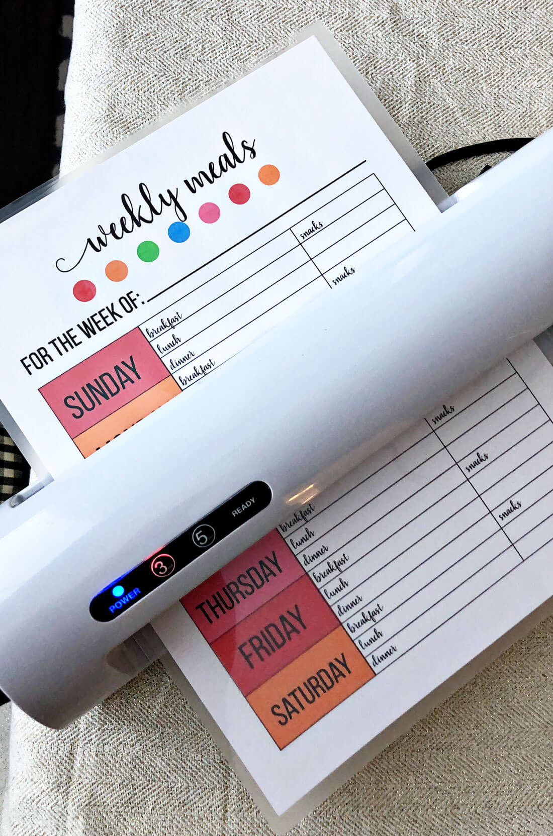 Printable Weekly Meal Planner - use this to get your calendar ready for meal prep. Using the laminator. www.thirtyhandmadedays.com