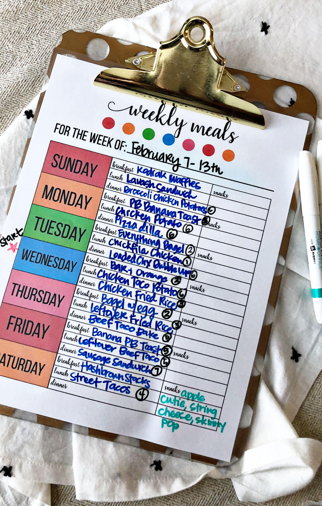 Printable Weekly Meal Planner - use this to get your calendar ready for meal prep. Filled in from www.thirtyhandmadedays.com