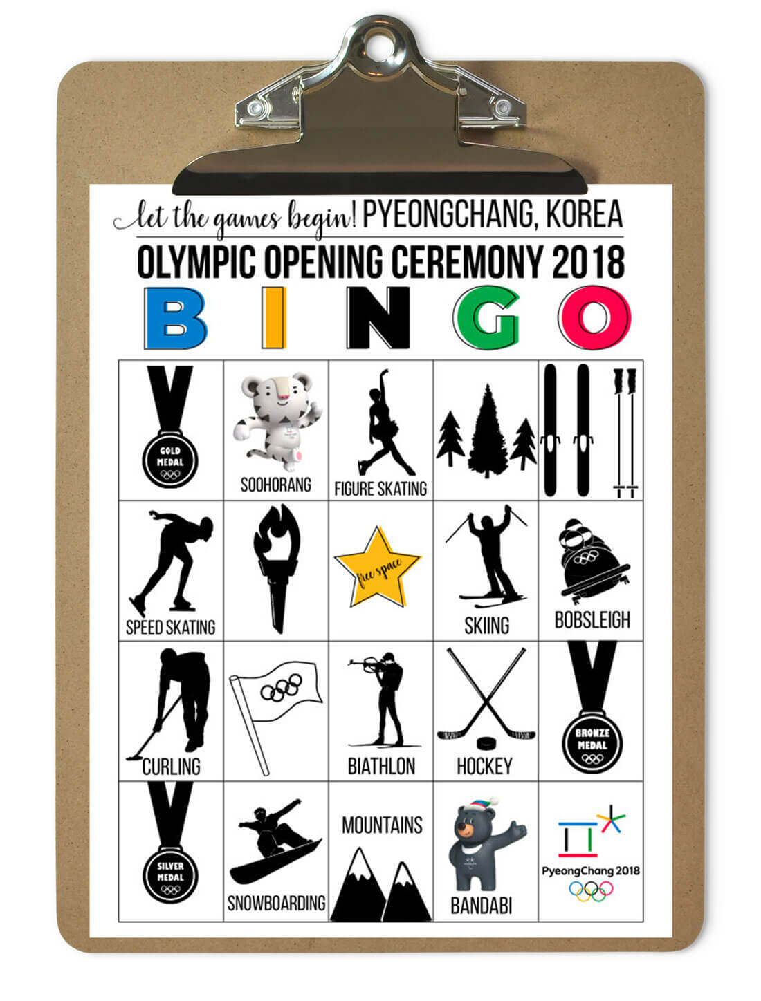 Winter Olympics 2018 BINGO - download and use for Opening Ceremony from www.thirtyhandmadedays.com