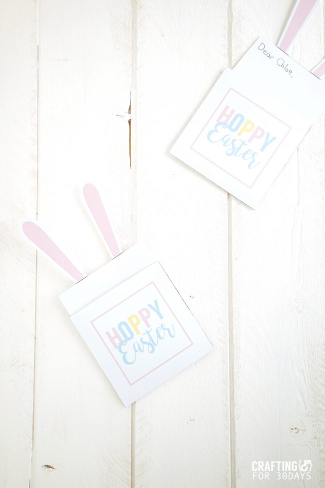Printable Easter Bunny Note - use these for the holiday! via www.thirtyhandmadedays.com