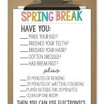 Printable Spring Break Rules from www.thirtyhandmadedays.com